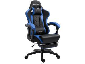 Dowinx Gaming Chair Ergonomic Racing Style Recliner with Massage Lumbar Support, Office Armchair for Computer PU Leather E-Sports Gamer Chairs with Retractable Footrest (Black&Blue)