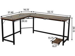 Golden Furniture L-Shaped Desk Computer Corner Desk, Home Desk, Home Office Desks with Moveable Shelf, Space-Saving, Easy to Assemble, Woodgrain