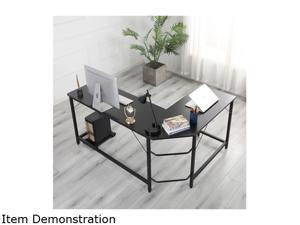 Golden Furniture L-Shaped Desk Computer Corner Desk, Home Desk, Home Office Desks with Moveable Shelf, Space-Saving, Easy to Assemble,Black