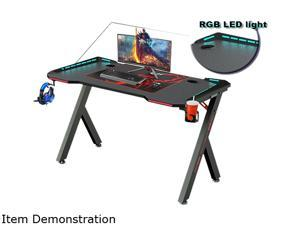 55inch Gaming Desk-game computer desk with LED lighting, cup holderand Headphone Hook,Black
