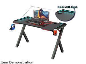 47inch Gaming Desk-game computer desk with LED lighting, cup holderand Headphone Hook,Black