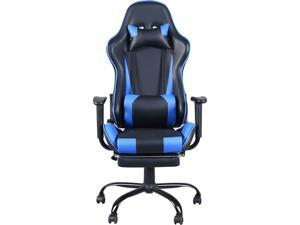 High Back Gaming Racing Chair Office Chair Swivel Chair with Footrest and Arm Rest, Black & Blue