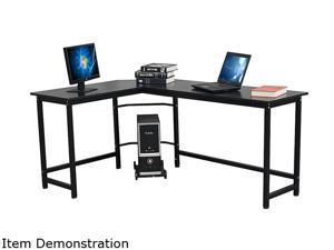 WayHope L-Shaped Desk Corner Computer Gaming Laptop Table PC Table Study Desk Workstation Home Office Black