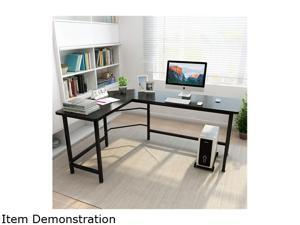 """66"""" x 47"""" x 28"""" L-shaped Corner Desk Gaming Computer Workstation Table w/ CPU Stand Home Office"""