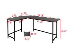 """WayHope 66"""" x 47"""" x 28"""" L-shaped Corner Desk Gaming Computer Workstation Table w/ CPU Stand Home Office"""