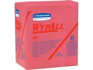 WypAll X80 Reusable Wipes (41029), Extended Use Cloths Quarter-fold Format, Red, 50 Sheets / Pack; 4 Packs / Case; 200 Folded Sheets / Case