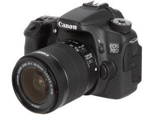 Canon EOS 70D 8469B009 Digital SLR Cameras Black with 18 - 55mm STM f/3.5-5.6 Lens