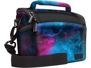 Bridge Camera Bag (Galaxy) with Rain Cover, Adjustable Dividers and Protective Neoprene Material by USA Gear