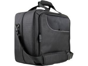 USA GEAR Console Carrying Case - Xbox and PlayStation Travel Bag. Water Resistant Exterior and Customizable Interior - Black