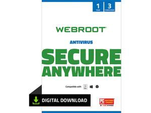Webroot AntiVirus - 3 Devices 1 Year Subscription - Download