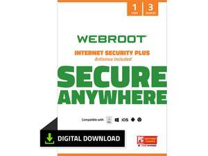 Webroot Internet Security Plus + Antivirus - 3 Devices 1 Year Subscription - Download