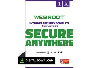 Webroot Internet Security Complete + Antivirus - 5 Devices  1 Year Subscription - Download