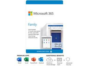 Microsoft 365 Family, 6 Users 1 Year, Premium Office Apps, 1 TB OneDrive Cloud Storage, Bilingual, PC/Mac Download