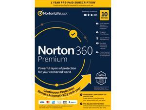 Norton 360 Premium 2021 - Antivirus software for 10 Devices with Auto Renewal - Includes VPN, PC Cloud Backup & Dark Web Monitoring powered by LifeLock  [Key card]