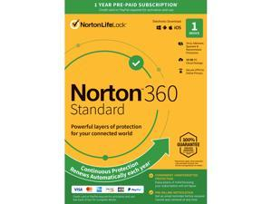 Norton 360 Standard - Antivirus software for 1 Device with Auto Renewal - Includes VPN, PC  Cloud Backup & Dark Web Monitoring powered by LifeLock [Key Card]