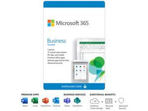 Microsoft 365 Business Standard, 1 User 1 Year, Premium Office Apps, 1 TB OneDrive Cloud Storage, Bilingual, PC/Mac Download