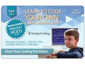 Learn to Code Your Own Games, Websites, Apps (Ages 11+) $70 Gift Card (Email Delivery)