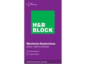 H&R BLOCK Tax Software Deluxe + State 2020 Windows - Download (Bundle)