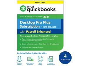 QuickBooks Desktop Pro Plus 2021 with Enhanced Payroll  (1 Year Subscription) - Download