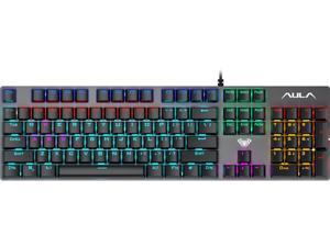 AULA S2016 Rainbow LED Backlit Gaming Keyboard ,Black