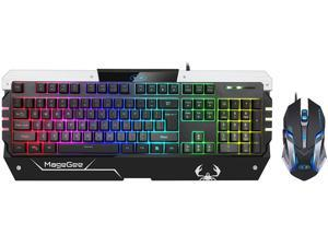 Magegee USB RGB Gaming Keyboard and Mouse Combo, GT817 104 Key Rainbow Backlit Keyboard and Mouse Set, Computer Keyboard USB Wired Mouse for Windows PC Gamers (RGB Backlit)