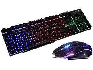 Colorlight T6 E-sport Gaming Keyboard and Mouse Mousepad Combo Mechanical Feeling Rainbow LED Backlight Emitting Character