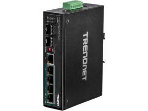 TRENDnet TI-PG62 6-Port Hardened Industrial Gigabit PoE+ DIN-Rail Switch Limited Lifetime Warranty
