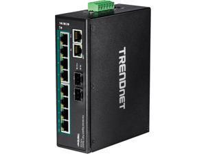 TRENDnet TI-PG102 10-Port Industrial Gigabit PoE+ DIN-Rail Switch Limited Lifetime Warranty