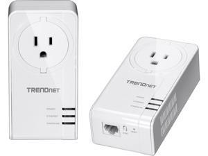 TRENDnet TPL-423E2K Powerline 1300 AV2 Adapter Kit with Built-in Outlet, Gigabit Port, IEEE 1905.1 & IEEE 1901, Homeplug AV2 (2-Pack)