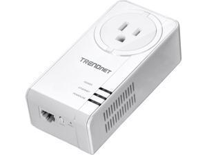 TRENDnet TPL-423E Powerline 1300 AV2 Adapter Kit with Built-in Outlet, Gigabit Port, IEEE 1905.1 & IEEE 1901, Homeplug AV2