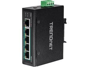 TRENDnet TI-PG50 Unmanaged 5-Port Industrial Gigabit PoE+ DIN-Rail Switch