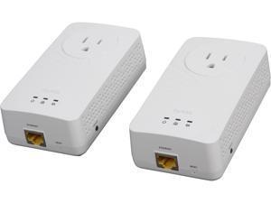 ZyXEL 600 Mbps Powerline AV2 AV600 Gigabit Pass-Thru Adapter, Starter Kit - 2 Units (PLA5215KIT), up to 600Mbps