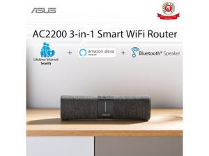 ASUS Lyra Voice Home Mesh WiFi System AC2200, Tri-Band, AiProtection Security by Trend Micro, Parental Control, Amazon Alexa Built-in, Bluetooth, Two 8W Stereo Speakers