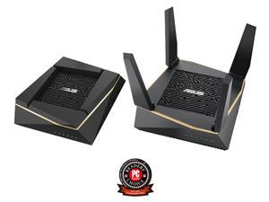 ASUS (RT-AX92U 2 Pack) Performance Mesh Tri-Band AX6100 WiFi Routers - Whole Home WiFi Mesh with 802.11AX (WiFi 6) AX Technology includes 4 LAN 1 USB 3.1 1 USB 2.0