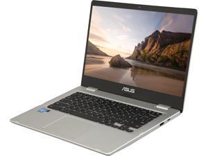 "ASUS Chromebook C423NA-DH02 14.0"" HD NanoEdge Display with 180 Degree Hinge Intel Dual Core Celeron Processor, 4 GB RAM, 32 GB eMMC Storage, Silver Color"