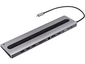 IOGEAR Black/Gray GUD3C02B Dock Pro 100 USB-C 4K Ultra-Slim Station