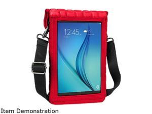 """8-Inch Tablet Case Neoprene Sleeve Cover w/ Built-in Screen Protector & Carry Strap by USA Gear (Red) Fits 2017 Samsung Galaxy Tab A2 S 8"""" / Tab A 8"""" / Tab S2 8"""" / Tab E 8"""", Asus ZenPad S 8.0"""