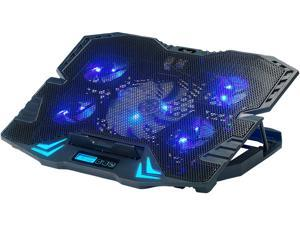 Rosewill Gaming Laptop Cooler Notebook Cooling Pad, 5 Silent Blue LED Fans with Powerful Air Flow, Control Panel with LCD Screen, Portable Height Adjustable Laptop Stand, Comfortable with Wrists