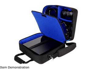 USA GEAR Console Carrying Case - PS4 Case Compatible with Playstation 4 Slim, PS4 Pro, and PS3 - Customizable Interior Stores PS4 Games, PS4 Controller, PS4 Headset, and More Gaming Accessories (Blue)