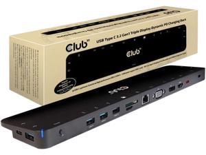 Club3D Black CSV-1564 USB Type-C 3.2 Gen1 Triple Display Dynamic PD Charging Dock