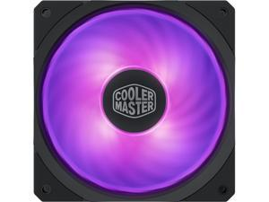 Cooler Master MasterFan SF120R RGB 120mm Square Frame Fan w/ RGB LEDS, Hybrid Blade Design, Cable Management and PWM Control Fan