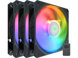 Cooler Master SickleFlow 120 V2 Addressable RGB 3 in 1 Square Frame Fan, Individually Customizable LEDS, Air Balance Curve Blade Design, Sealed Bearing, PWM Control for Computer Case & Liquid Radiator