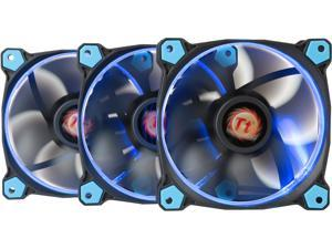 Thermaltake Riing 12 High Static Pressure 120mm Circular Ring LED Case/Radiator Fan with Anti-vibration Mounting System - Blue -  3 PKS