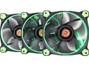 Thermaltake Riing 12 High Static Pressure 120mm Circular Ring LED Case/Radiator Fan with Anti-vibration Mounting System - Green -  3 PKS