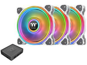 Thermaltake Riing Quad CL-F101-PL14SW-B 140mm RGB LED Radiator Fan White 3 Pack