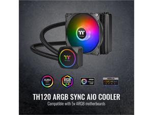 Thermaltake TH120 ARGB Motherboard Sync Edition Intel/AMD All-in-One Liquid Cooling System 120mm High Efficiency Radiator CPU Cooler, CL-W285-PL12SW-A