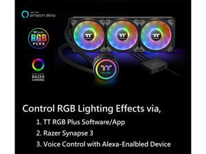 Thermaltake Floe DX 360 Triple Riing Duo 16.8 Million Colors RGB 54 LED LGA2066 AM4 Ready Intel/AMD Liquid Cooling All-in-One CPU Cooler, CL-W256-PL12SW-B