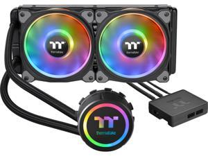 Thermaltake Floe DX 240 Dual Riing Duo 16.8 Million Colors RGB 36 LED LGA2066 AM4 Ready Intel/AMD Liquid Cooling All-in-One CPU Cooler, CL-W255-PL12SW-B