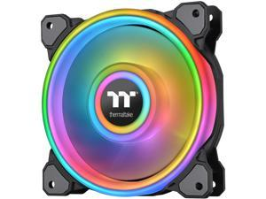 Thermaltake Riing Quad 120mm 16.8 Million RGB Color (Alexa, Razer Chroma) Software Enabled 4 Light Rings 54 Addressable LED 9 Blades Hydraulic Bearing Case/Radiator Fan, Single Pack, CL-F088-PL12SW-C