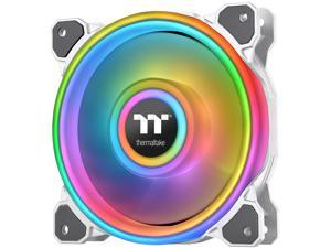 Thermaltake Riing Quad 140mm 16.8 Million RGB Color (Alexa, Razer Chroma) Software Enabled 4 Light Rings 54 Addressable LED 9 Blades Hydraulic Bearing White Case/Radiator Fan, Single Pack